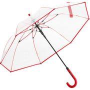 Parapluie canne transparent - 7112 - bord rouge
