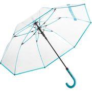 Parapluie canne transparent - 7112 - bord bleu pétrole