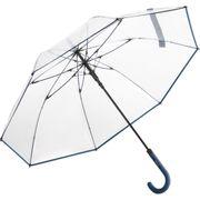 Parapluie canne transparent - 7112 - bord bleu marine
