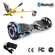 Cool&Fun Hoverboard 6.5 Pouces avec Bluetooth Camouflage + Hoverkart Hip, Gyropode Overboard Smart Scooter certifié, Pneu à LED de couleur, Kit kart