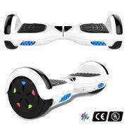 Cool&Fun Hoverboard 6.5 Pouces avec Bluetooth Blanc + Hoverkart Hip, Gyropode Overboard Smart Scooter certifié, Pneu à LED de couleur, Kit kart