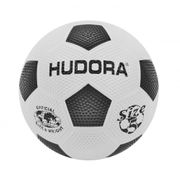Hudora street football - ballon foot gonflet taille 5 - noire/blanc