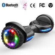 Hoverboard bluetooth tout terrain 6.5 pouces, scooter gyropode Roues lumineuses à LED de nouvelle génération Q3, noir