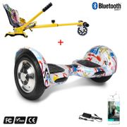 Cool&Fun Hoverboard Gyropode 10 Pouces Bluetooth Graffiti  + Hoverkart Hip, Overboard Smart Scooter certifié, Kit kart