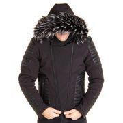 Blouson noir avec simili cuir et capuche fourrure noir tendance