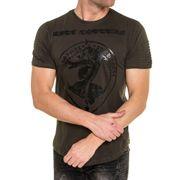 T-shirt homme kaki brodé et imprimé à nervures