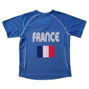 Maillot football ADULTE supporter équipe de France - T-shirt polyester col V JN386 - bleu roi