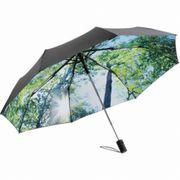 Mini Parapluie pliant de poche imprimé nature - 5593 - noir et forêt