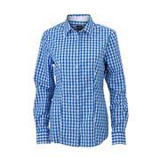 chemisier chemise manches longues FEMME carreaux vichy JN616 - bleu roi