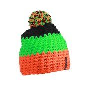 Bonnet crocheté à pompon - MB7940 - orange - vert - noir