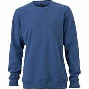 Sweat shirt encolure galonnée homme - JN992 - bleu denim