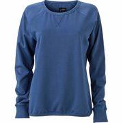 Sweat shirt encolure galonnée femme - JN991 - bleu denim