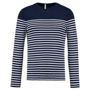 Marinière homme - t-shirt manches longues - K366 - bleu marine rayé