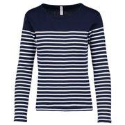 Marinière femme - t-shirt manches longues - K386 - bleu marine rayé