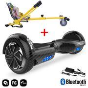 Mega Motion Hoverboard bluetooth 6.5 pouces, M1 Noir carbon + Hoverkart Hip, Gyropode Overboard Smart Scooter certifié, Kit kart