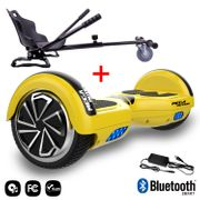 Mega Motion Hoverboard bluetooth 6.5 pouces, M1 Jaune + Hoverkart noir, Gyropode Overboard Smart Scooter certifié, Kit kart
