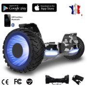 Hoverboard bluetooth tout terrain 8.5 pouces, Gyropode Hummer SUV 4x4 Challenger, Roues Lumineuses à LED, Bluetooth + App de contrôle + Sac de transport, Camouflage