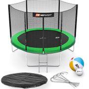 HS Hop-Sport Trampoline de jardin rond 305 cm/3 pieds trampoline avec filet extérieur; échelle; bâche de protection (Vert)