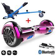 Mega Motion Hoverboard bluetooth 6.5 pouces, M2 Rose chromé + Hoverkart bleu, Gyropode Overboard Smart Scooter certifié, Kit kart
