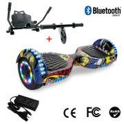 Cool&Fun Hoverboard 6.5 Pouces avec Bluetooth Hip + Hoverkart Noir, Gyropode Overboard Smart Scooter certifié, Pneu à LED de couleur, Kit kart