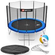 HS Hop-Sport Trampoline rond de jardin 305 cm/4pieds avec filet extérieur; échelle; bâche de protection bleu