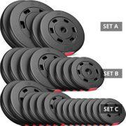 Hop-Sport Poids Disques en Plastique Set 30 kg (2x10 kg 2x5 kg)