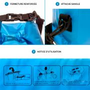 SAC ETANCHE 10L - DRY BAG bleu + sangle