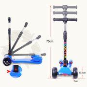 Cool&Fun Trottinette 3 roues enfants, Patinette enfznts Pulvérisation et LED, scooter pliable et réglable hauteur, Bleu