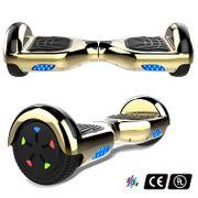 Cool&Fun Hoverboard 6.5 Pouces avec Bluetooth Doré/Or+ Hoverkart Hip, Gyropode Overboard Smart Scooter certifié, Pneu à LED de couleur, Kit kart