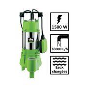Pompe d'évacuation VITO pour eaux chargées 1500W - Vide piscine, eaux de pluie, cave - Câble électrique 6m