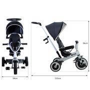 Tricycle enfant évolutif pare-soleil pliable canne télescopique amovible 115L x 54l x 96H cm métal gris blanc noir
