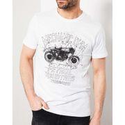 T-shirt relief moto blanc à manches courtes