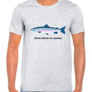 T  Shirt Col Rond Imprime saumon