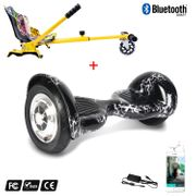 Cool&Fun Hoverboard Gyropode 10 Pouces Bluetooth  Noir Claire + Hoverkart Hip, Overboard Smart Scooter certifié, Kit kart