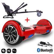 Mega Motion Hoverboard bluetooth 6.5 pouces, M1 Rouge + Hoverkart noir, Gyropode Overboard Smart Scooter certifié, Kit kart