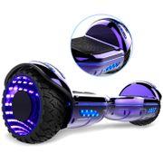 COOL&FUN Hoverboard Bluetooth 6.5 pouces, Gyropode Overboard avec Roues lumineuses à LED de couleur et Bande de LED, Violet Chromé