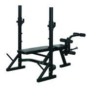 Banc de musculation Fitness entrainement complet dossier réglable curler supports barre et haltères noir neuf 31