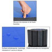 Tapis de sol gymnastique natte de sport pliante antidérapante 180L x 148l x 4H cm bleu noir neuf 02