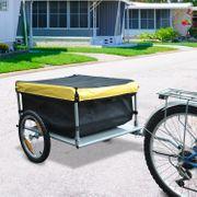 Remorque de transport vélo cargo barre d'attelage incluse housse amovible 4 réflecteurs charge max. 40 Kg noir jaune 05Y