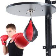 Punching ball poire de vitesse boxe avec support plateau tournant composite acier simili cuir rouge noir 22