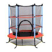 Trampoline de jardin enfants Ø 1,40 × 2,02H m filet de sécurité porte zipée couvre-ressorts + 6 poteaux rembourrés inclus noir rouge bleu 15