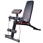 Banc de musculation pliable inclinable réglable 153L x 53l x 102H cm sangles élastiques + support haltères inclus acier noir rouge