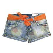 Short jeans fille ceinture orange Taille de 4 à 12 ans