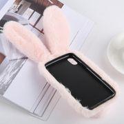 Coque housse iphone xr-Mignon Oreilles de Lapin Style Peluche Cas pour iPhone XR (Rose)