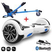 Mega Motion Hoverboard bluetooth 6.5 pouces, M1 Blanc + Hoverkart bleu, Gyropode Overboard Smart Scooter certifié, Kit kart