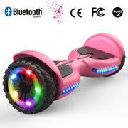 Hoverboard bluetooth tout terrain 6.5 pouces, scooter gyropode Roues lumineuses à LED de nouvelle génération Q3, rose