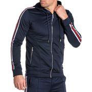 Veste zippé navy ajustée bandes latérales Homme
