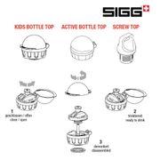 Sigg nouveau Top de remplacement pour enfants avec clip blanc translucide compatible avec toutes bouteilles