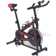 vidaXL Vélo d'appartement avec capteurs de pouls Noir et rouge
