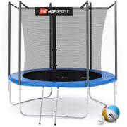 HS Hop-Sport Trampoline rond de jardin 244 cm avec filet de sécurité intérieur; échelle; bâche de protection (Bleu)